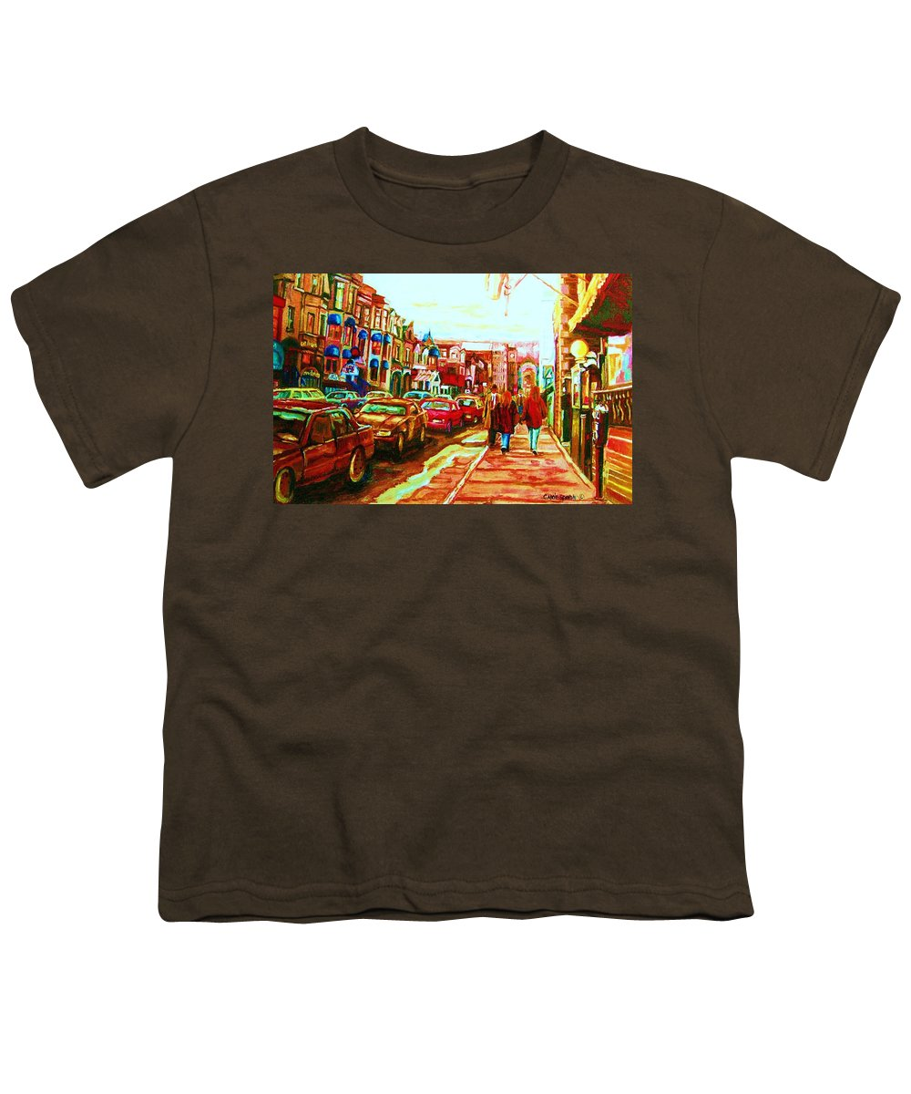 Montreal Streetscenes Youth T-Shirt featuring the painting Hard Rock On Crescent by Carole Spandau
