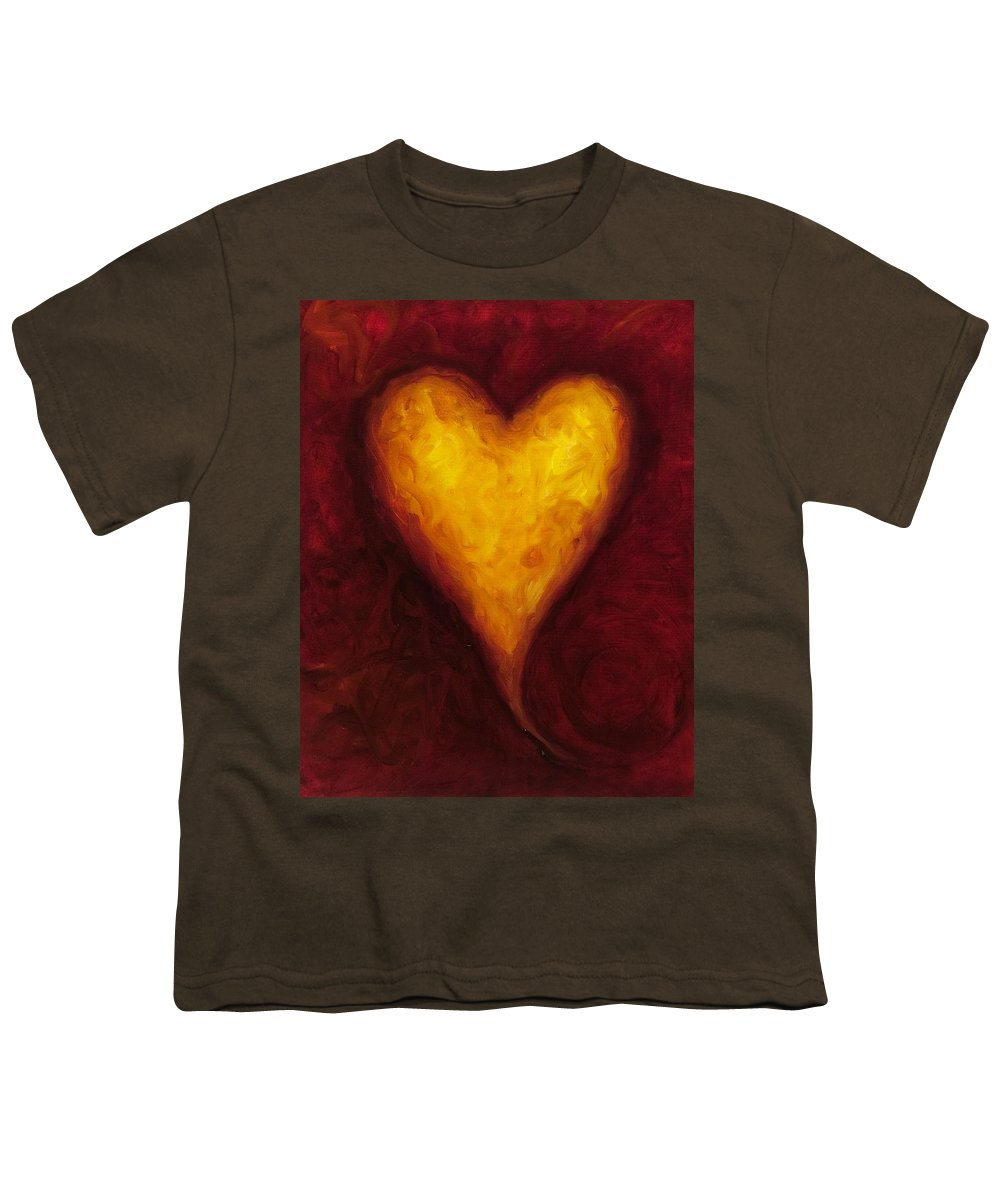 Heart Youth T-Shirt featuring the painting Heart Of Gold 1 by Shannon Grissom