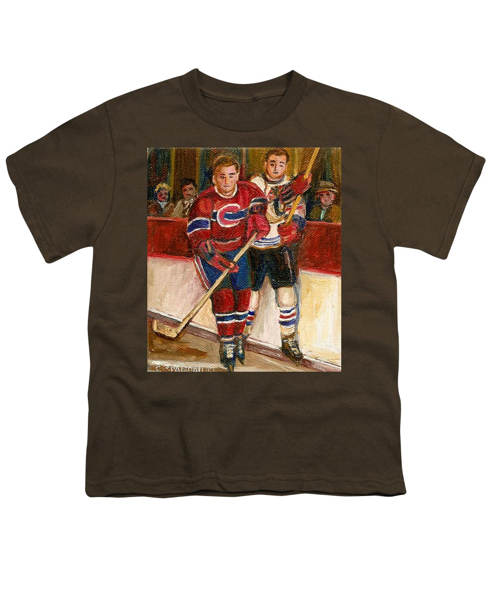 Hockey Youth T-Shirt featuring the painting Hockey Stars At The Forum by Carole Spandau