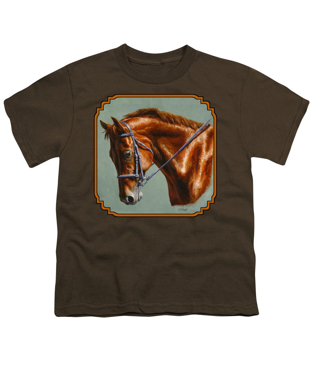 Horse Youth T-Shirt featuring the painting Horse Painting - Focus by Crista Forest