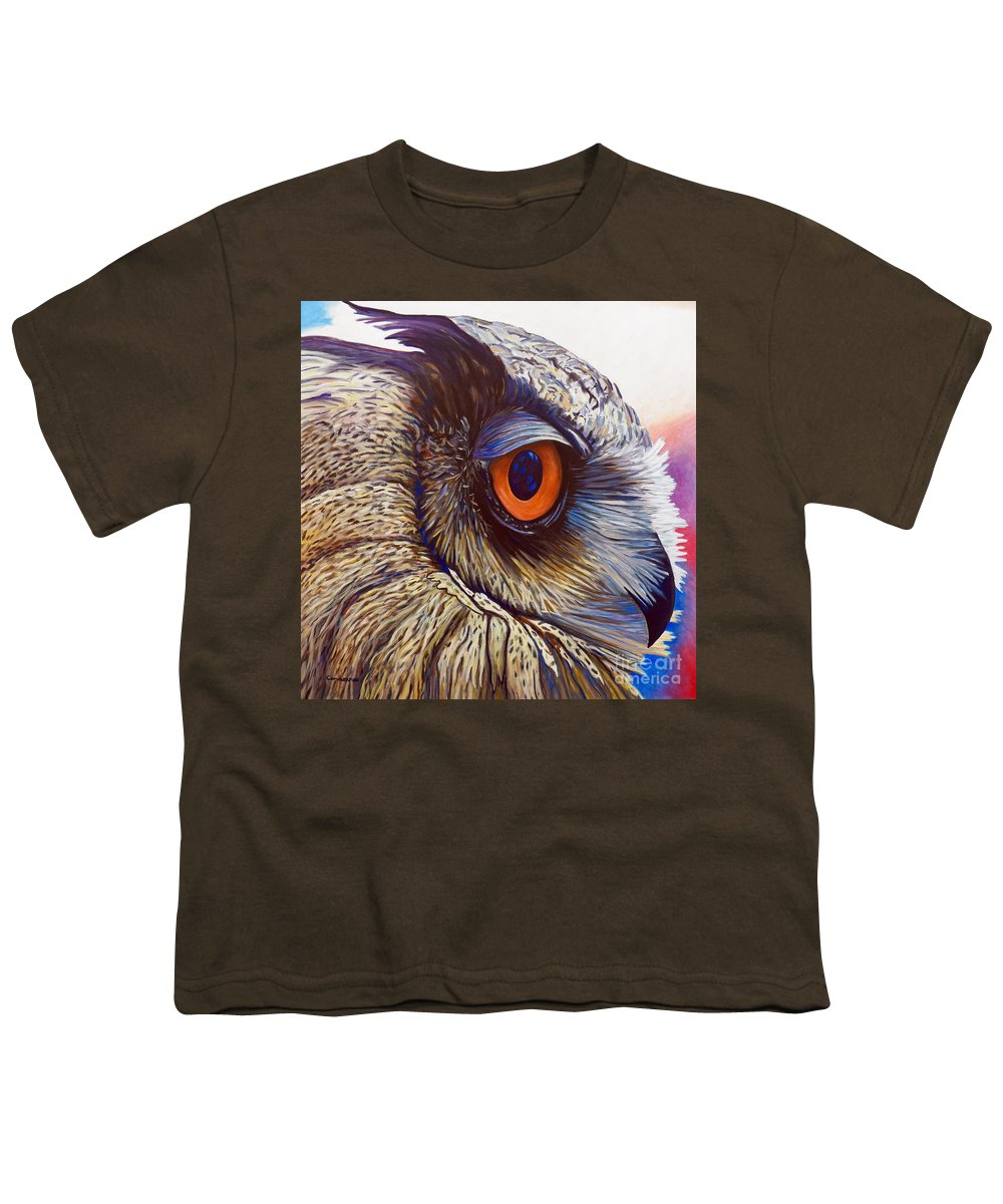 Owl Youth T-Shirt featuring the painting Introspection by Brian Commerford
