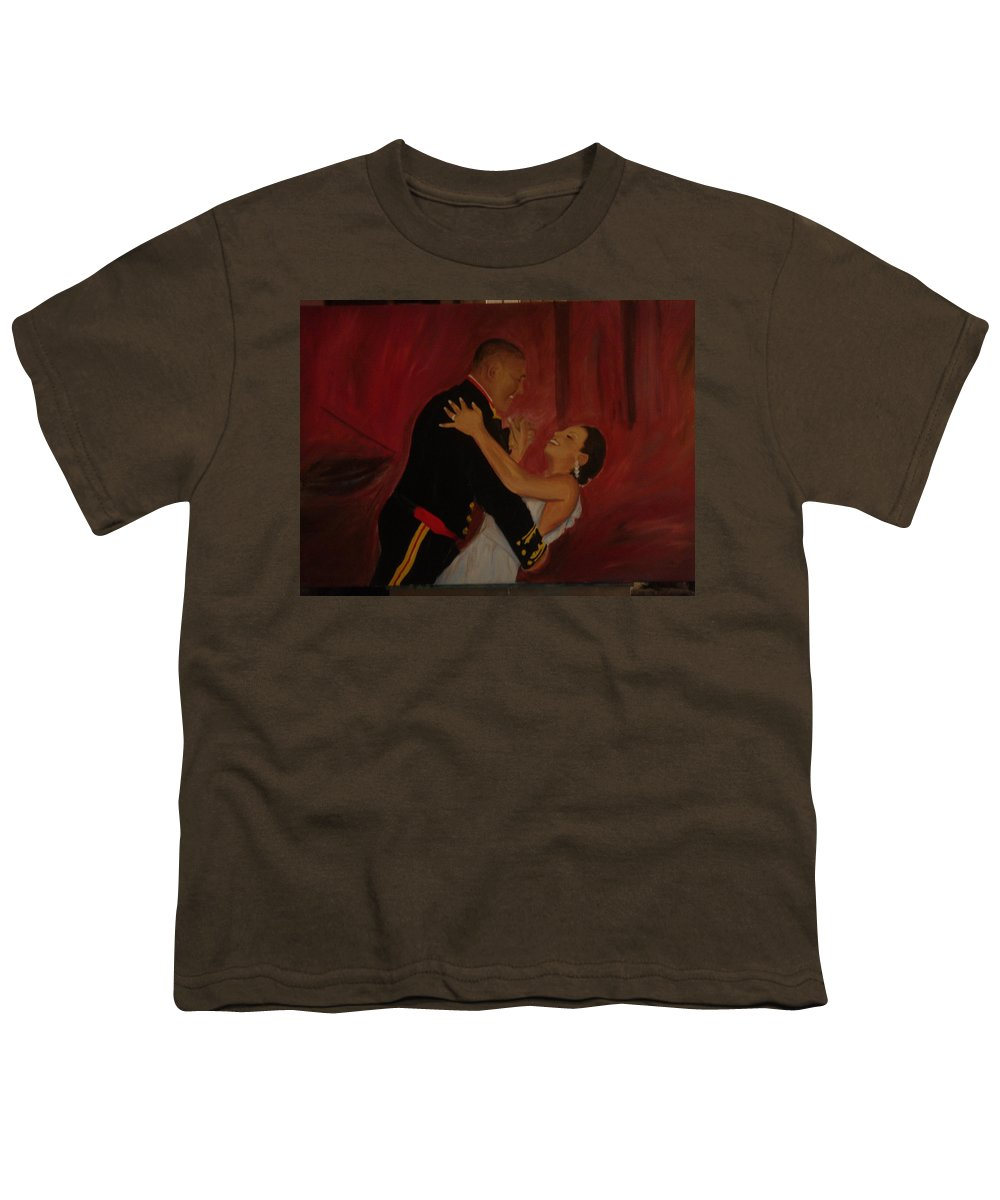 Marine Youth T-Shirt featuring the painting Just Married by Regina Walsh