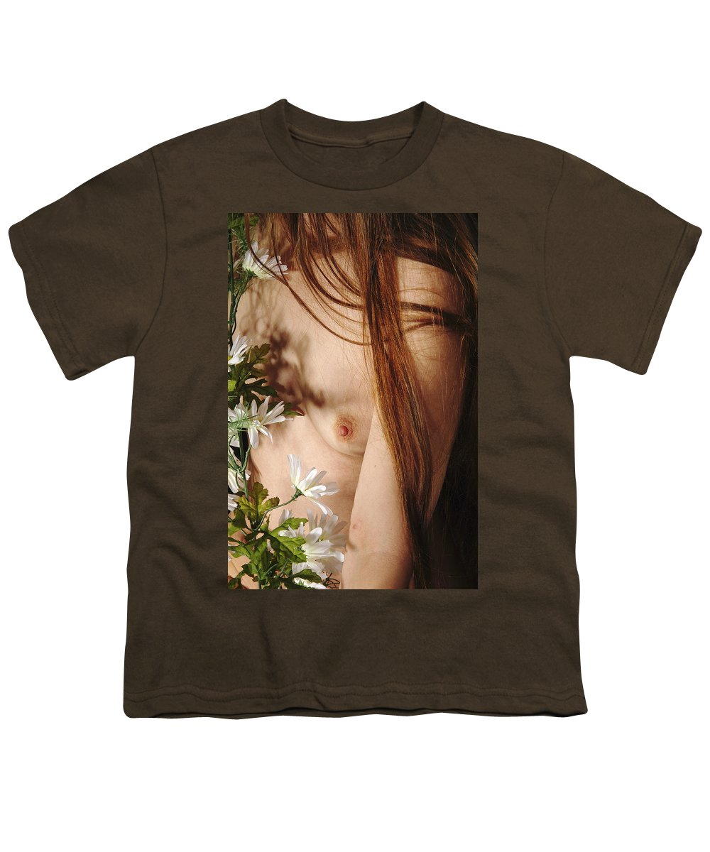 Female Nude Abstract Mirrors Flowers Youth T-Shirt featuring the photograph Kazi1141 by Henry Butz