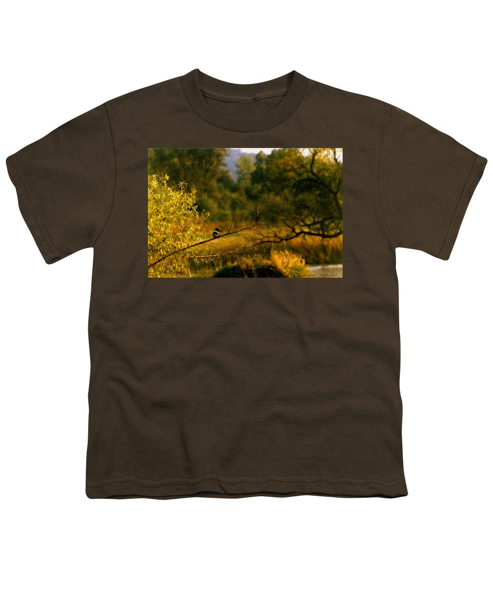 Landscape Youth T-Shirt featuring the photograph King Fisher by Steve Karol