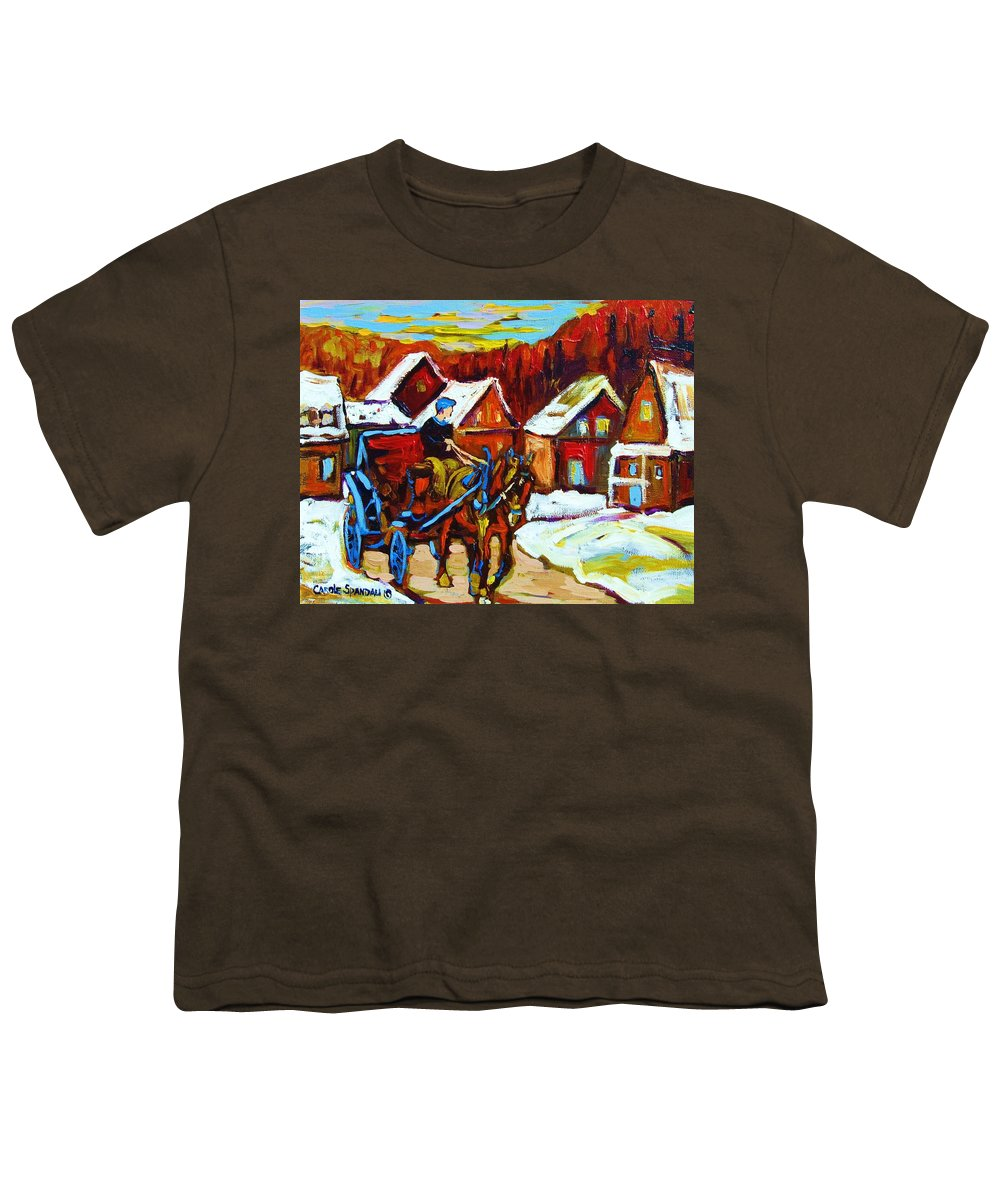 Horse And Carriage Youth T-Shirt featuring the painting Laurentian Village Ride by Carole Spandau