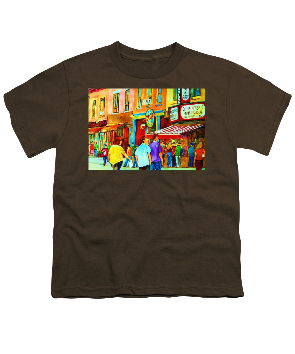 Cityscape Youth T-Shirt featuring the painting Lets Meet For Lunch by Carole Spandau