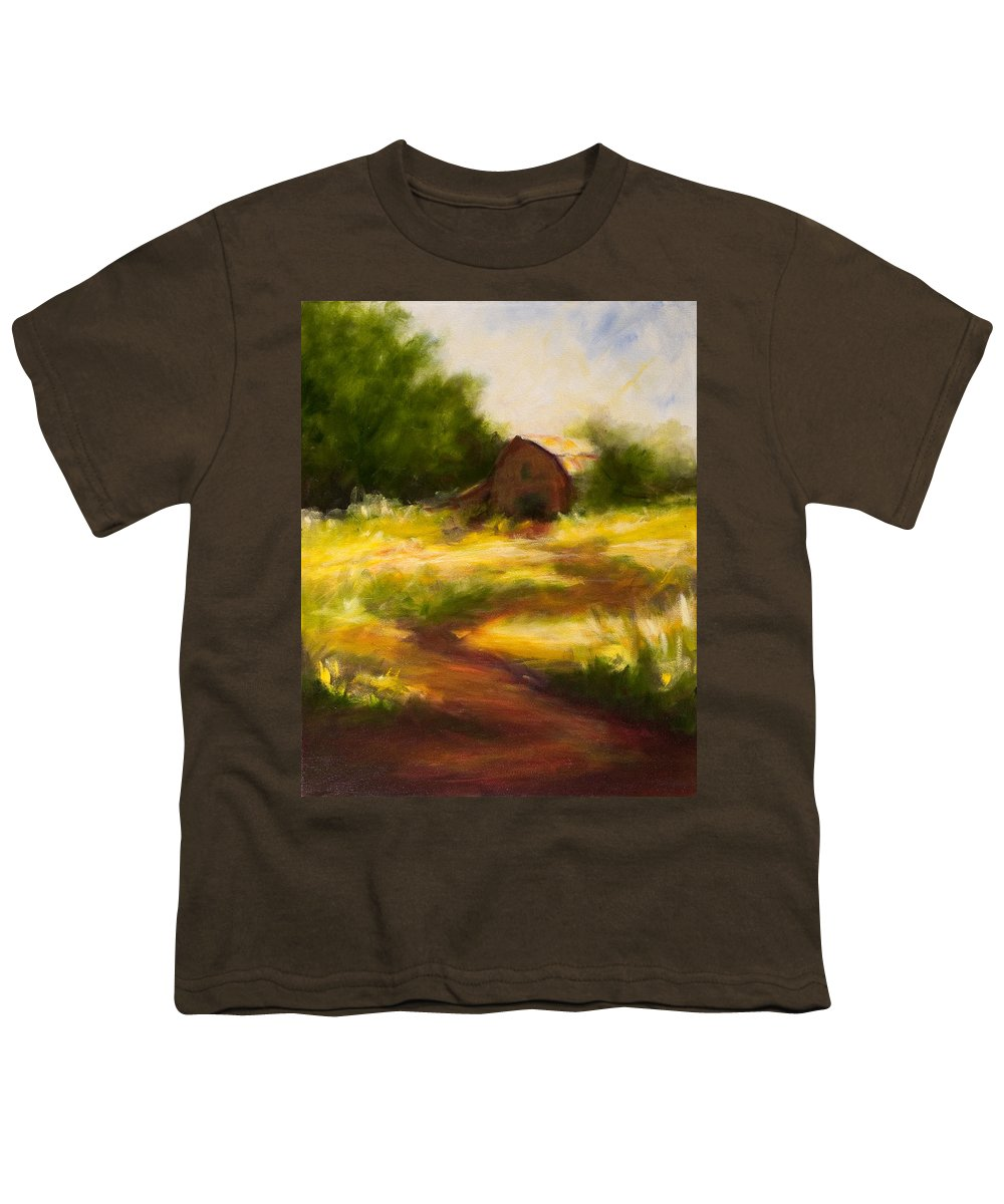 Landscape Youth T-Shirt featuring the painting Long Road Home by Shannon Grissom