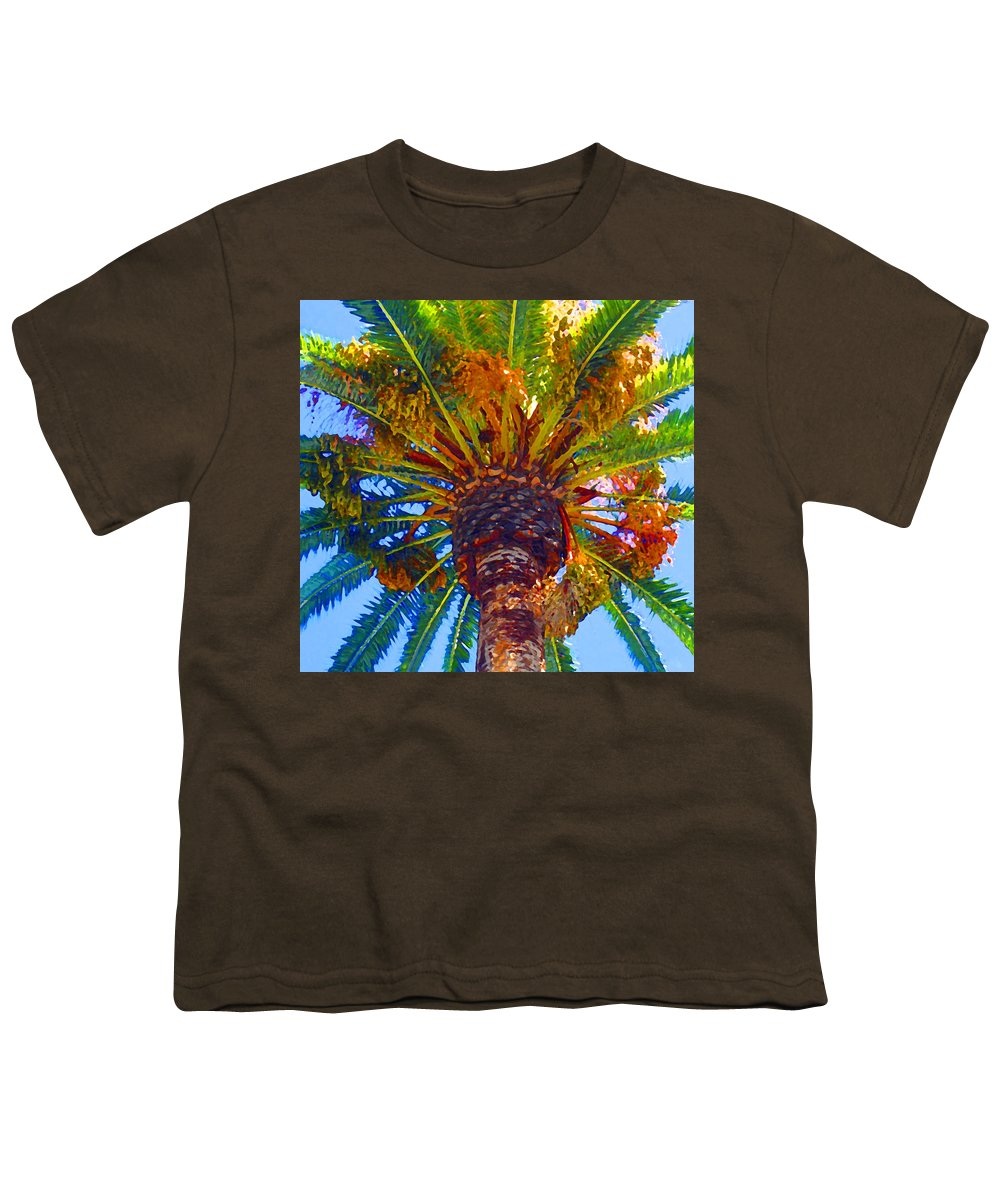Garden Youth T-Shirt featuring the painting Looking Up At Palm Tree by Amy Vangsgard