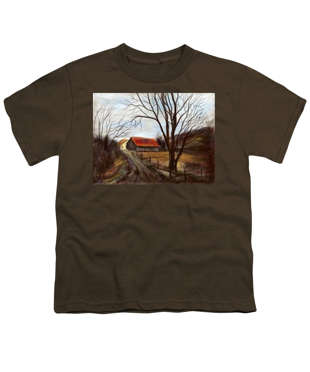 Barn Youth T-Shirt featuring the painting Louisa Kentucky Barn by Gail Kirtz