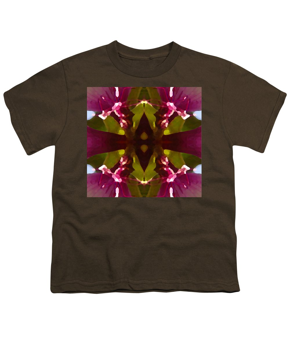 Abstract Painting Youth T-Shirt featuring the digital art Magent Crystal Flower by Amy Vangsgard