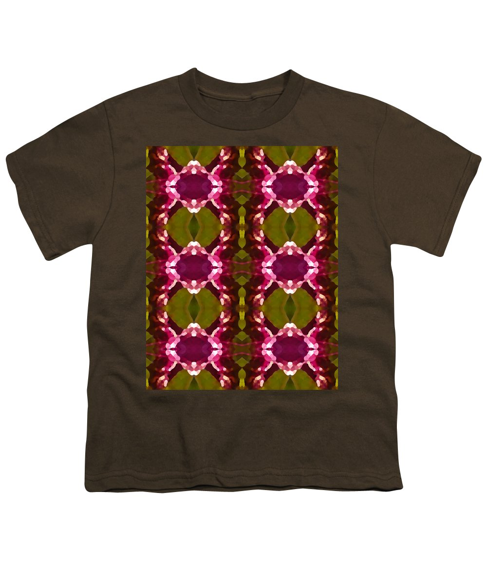 Abstract Youth T-Shirt featuring the painting Magenta Crystal Pattern by Amy Vangsgard