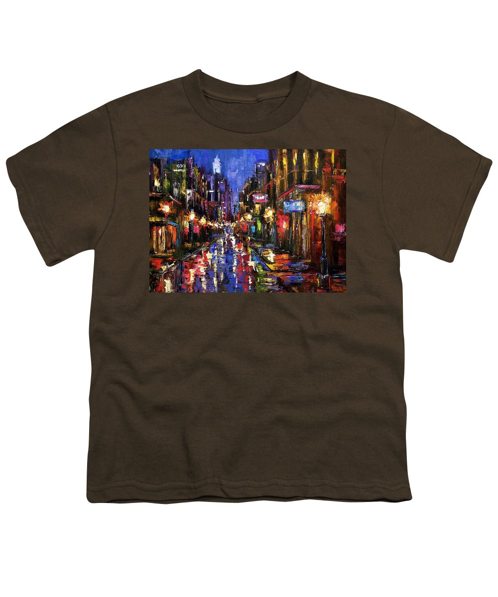 Cityscape Youth T-Shirt featuring the painting New Orleans Storm by Debra Hurd