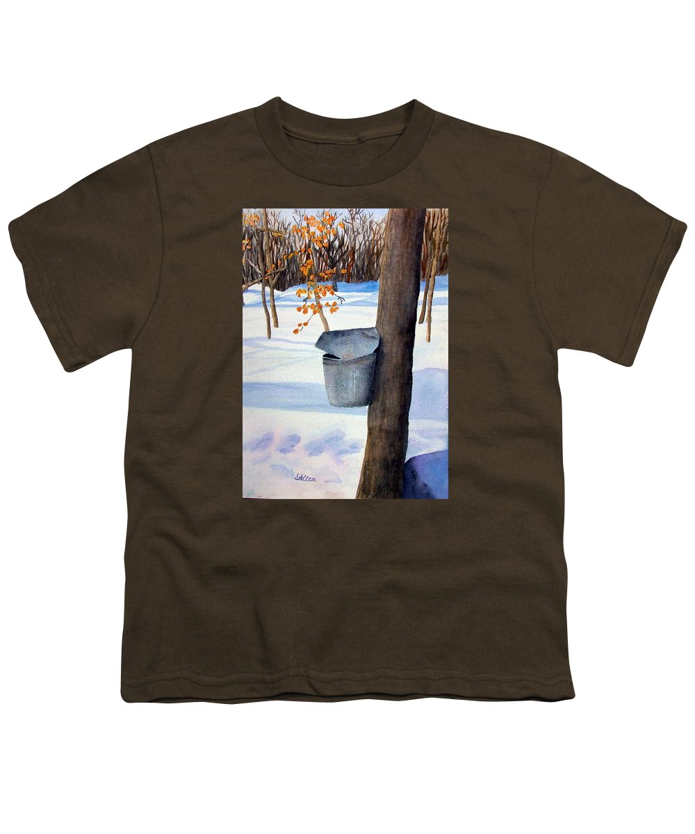 Sap Bucket. Maple Sugaring Youth T-Shirt featuring the painting Nh Goldmine by Sharon E Allen