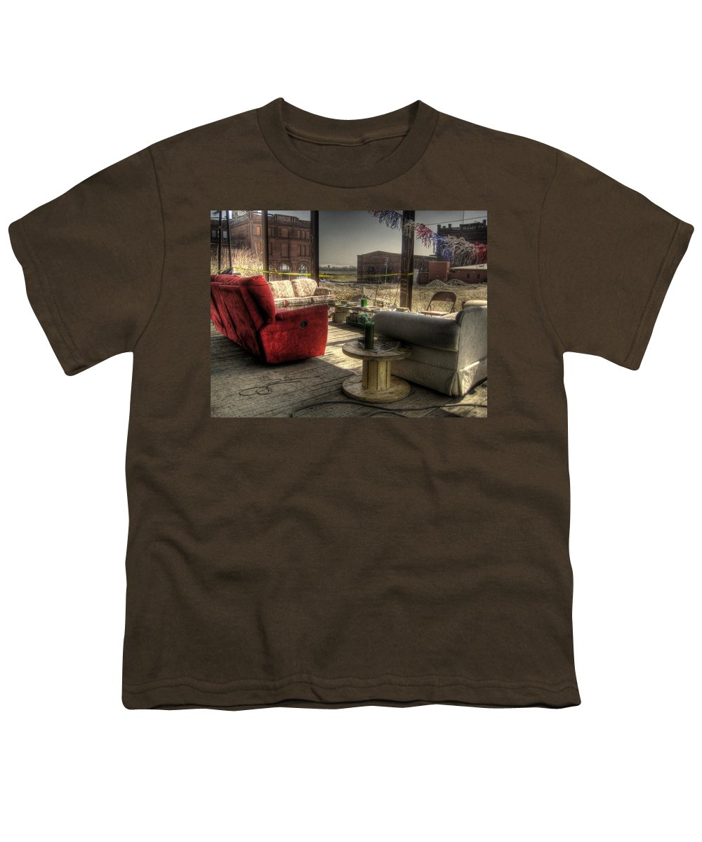 Hdr Youth T-Shirt featuring the photograph North St. Louis Porch by Jane Linders