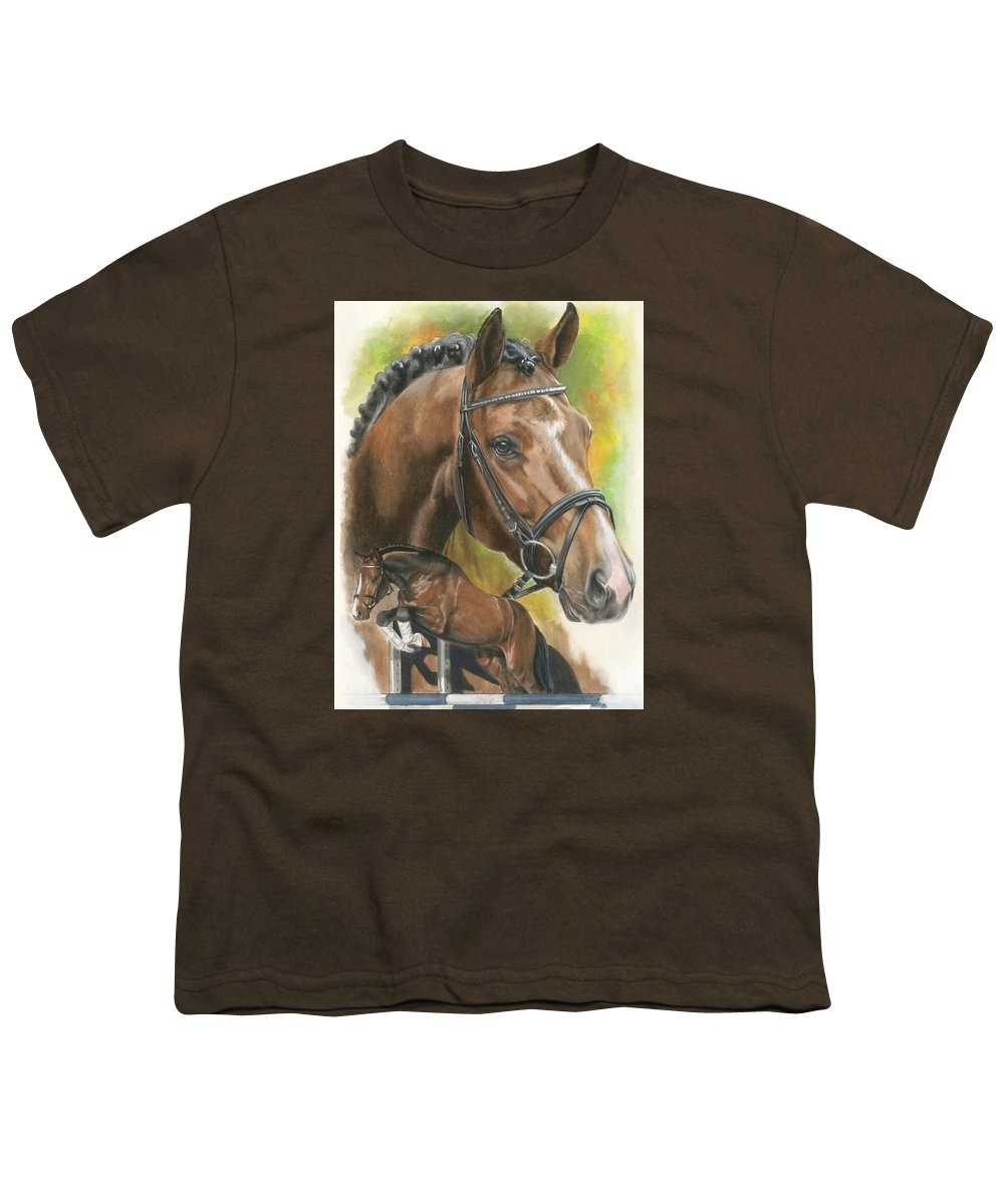 Horse Youth T-Shirt featuring the mixed media Oldenberg by Barbara Keith