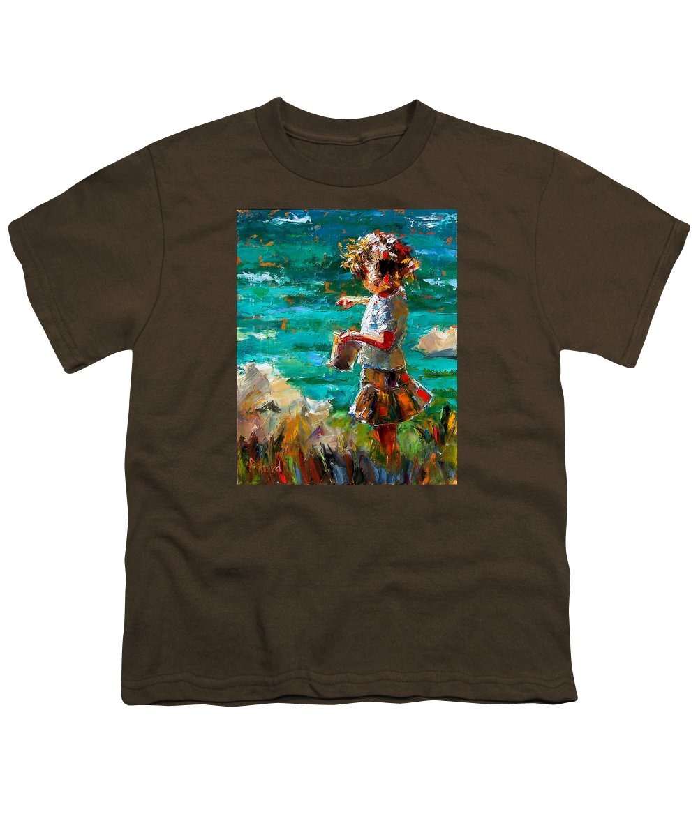 Children Youth T-Shirt featuring the painting One At A Time by Debra Hurd