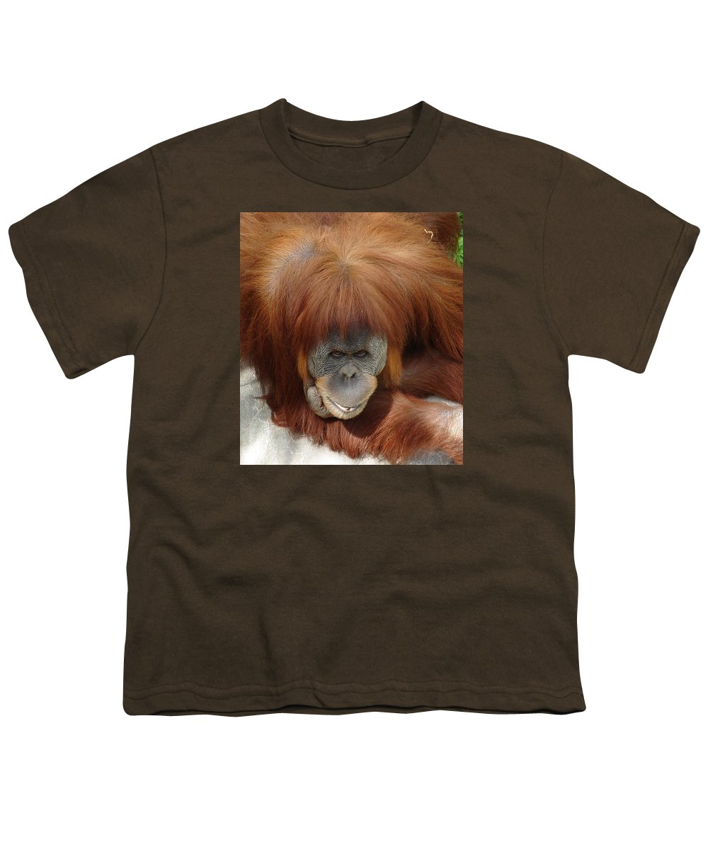 Red Ape Eyes Youth T-Shirt featuring the photograph Orangutan by Luciana Seymour