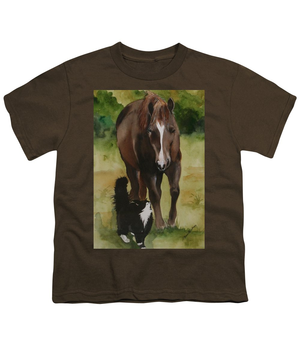 Horse Youth T-Shirt featuring the painting Oscar And Friend by Jean Blackmer