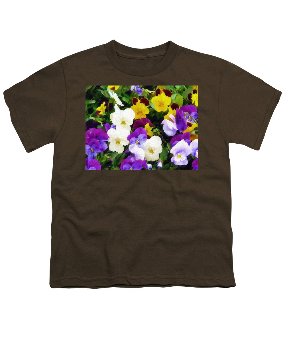 Pansies Youth T-Shirt featuring the photograph Pansies by Sandy MacGowan