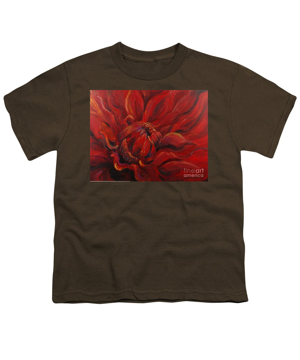 Red Youth T-Shirt featuring the painting Passion II by Nadine Rippelmeyer