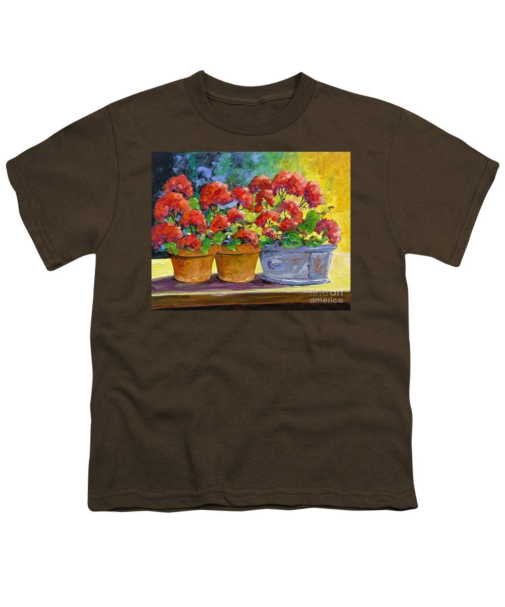 Still Life; Geraniums; Flowers; Terra Cotta; Red; Blue; Yellow; Green; Pranke; Youth T-Shirt featuring the painting Passion In Red by Richard T Pranke