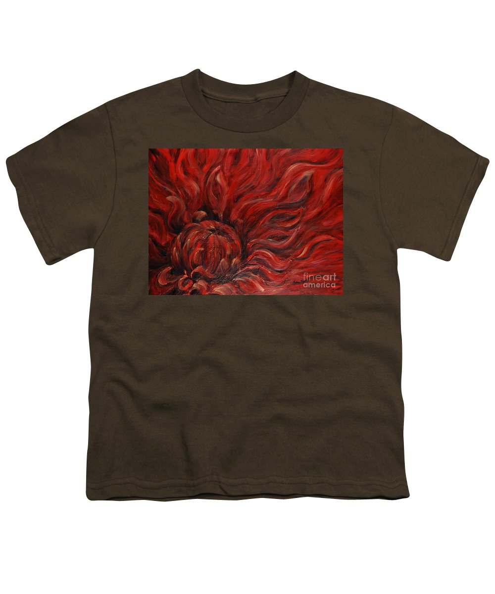 Flower Youth T-Shirt featuring the painting Passion Iv by Nadine Rippelmeyer