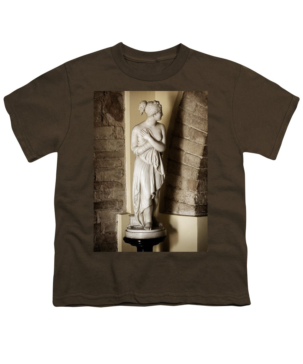Statue Youth T-Shirt featuring the photograph Peering Woman by Marilyn Hunt