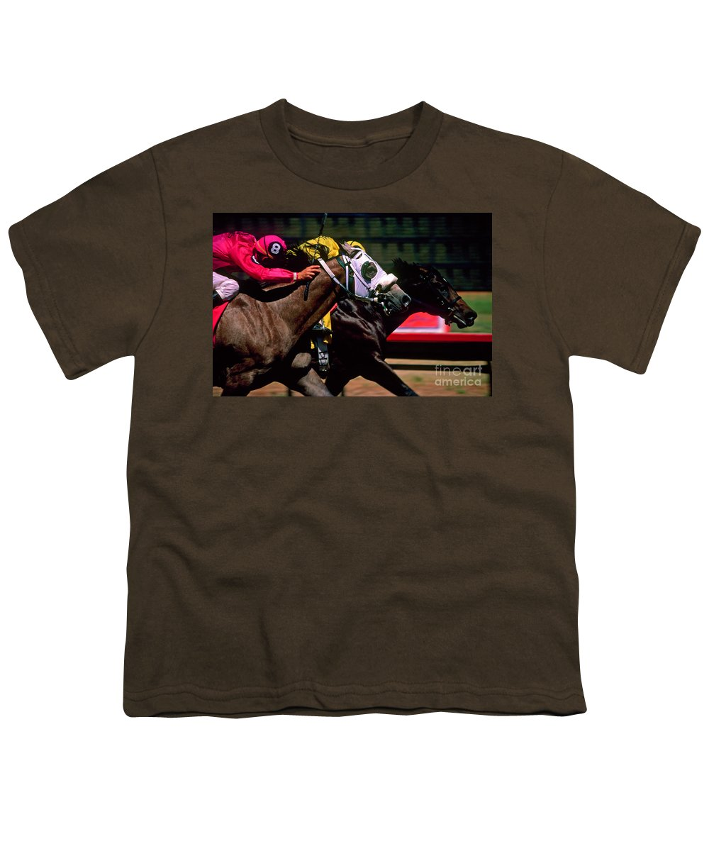 Horse Youth T-Shirt featuring the photograph Photo Finish by Kathy McClure