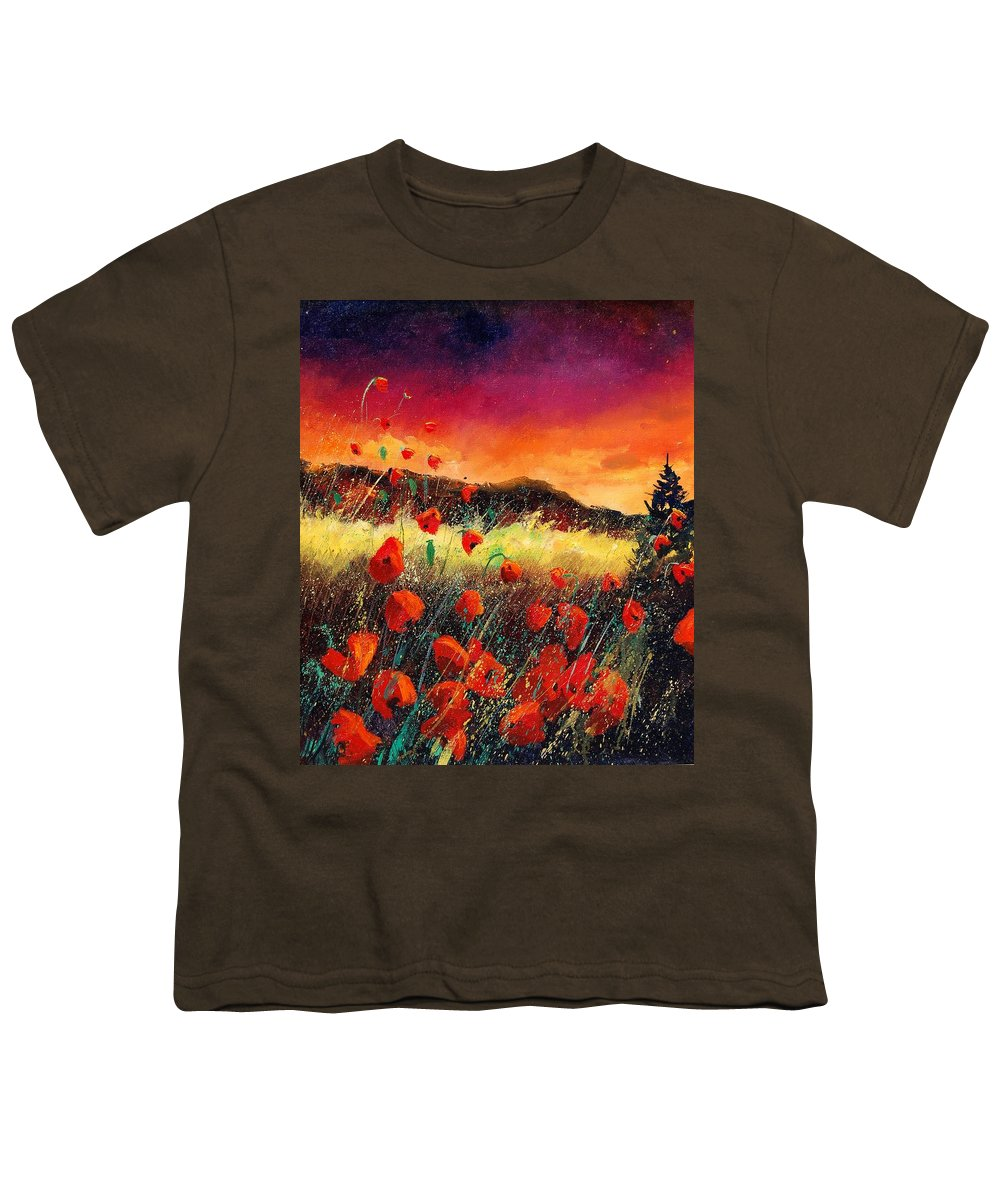 Poppies Youth T-Shirt featuring the painting Poppies At Sunset 67 by Pol Ledent