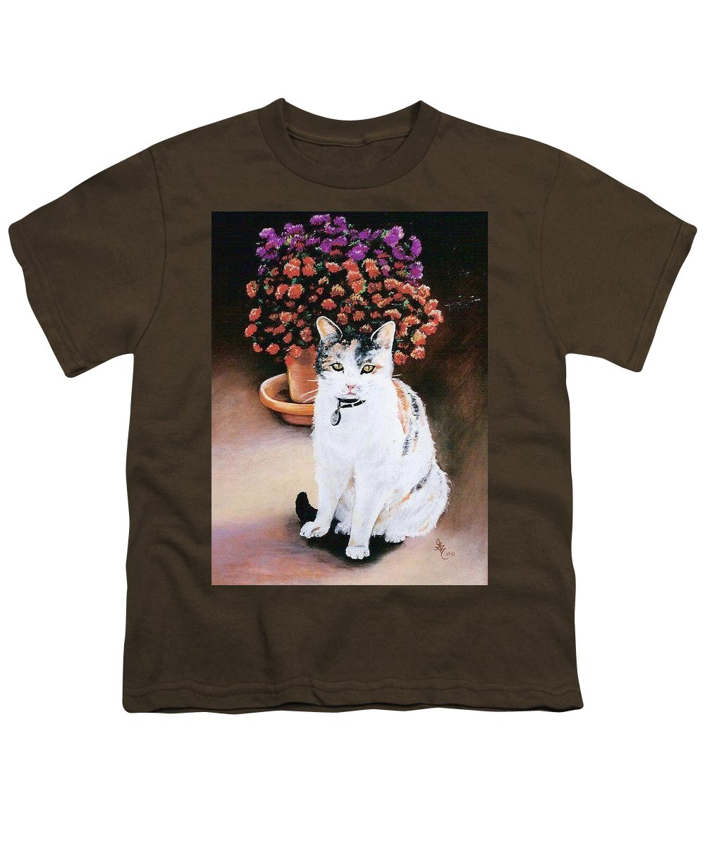 Cat Youth T-Shirt featuring the pastel Queen Marishka by Gale Cochran-Smith