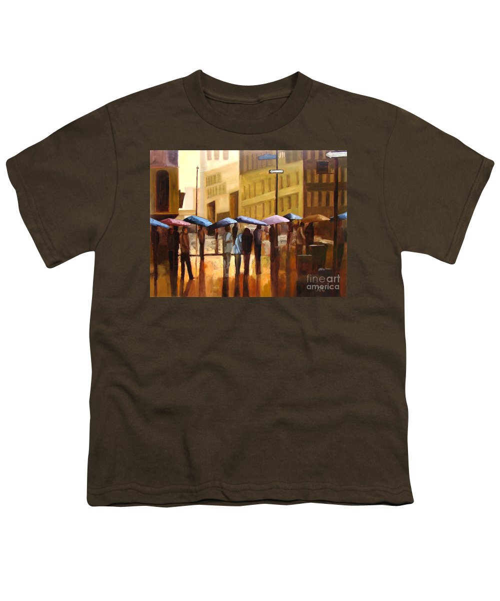 Cityscape Youth T-Shirt featuring the painting Rain In Manhattan Number Seventeen by Tate Hamilton