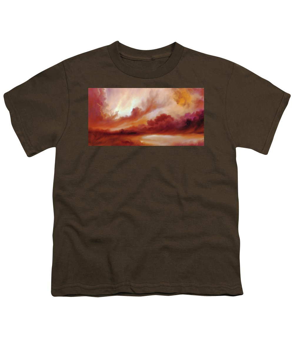 Skyscape Youth T-Shirt featuring the painting Receding Storm Sketch IIi by James Christopher Hill