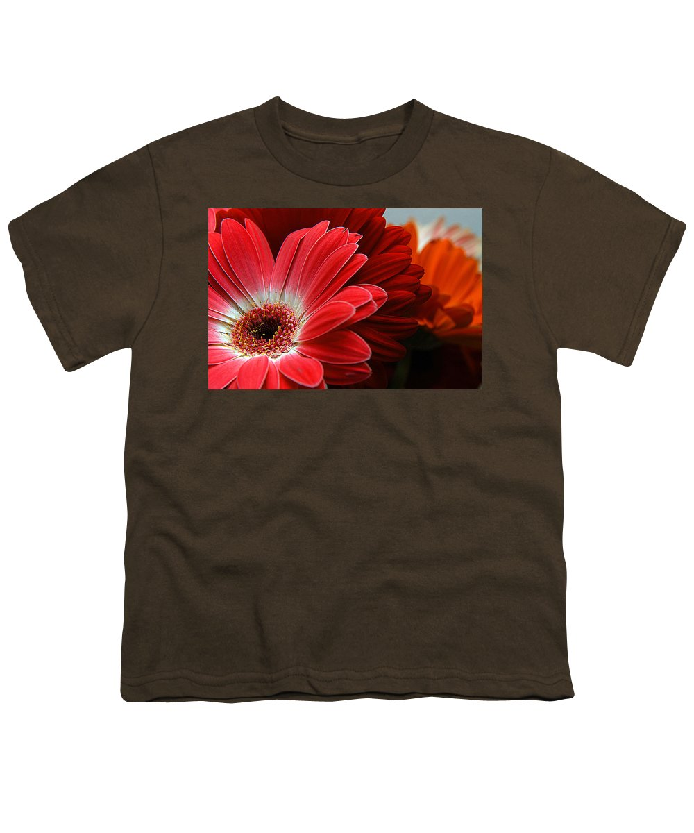 Clay Youth T-Shirt featuring the photograph Red And Orange Florals by Clayton Bruster