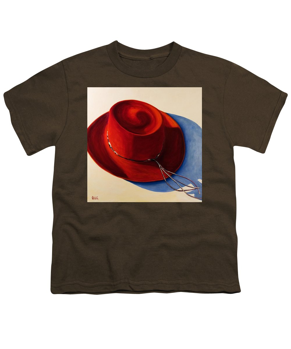 Red Hat Youth T-Shirt featuring the painting Red Hat by Shannon Grissom
