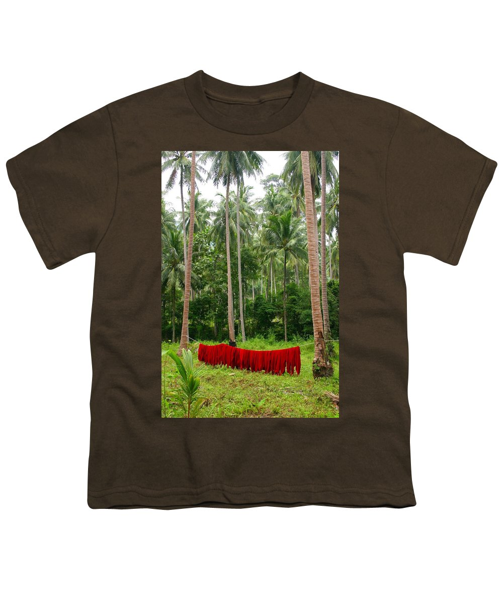 Palm Trees Youth T-Shirt featuring the photograph Red In The Jungle by Minaz Jantz