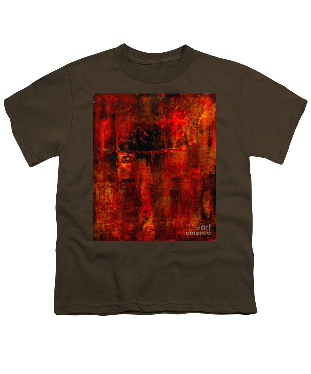 Abstract Painting Youth T-Shirt featuring the painting Red Odyssey by Pat Saunders-White