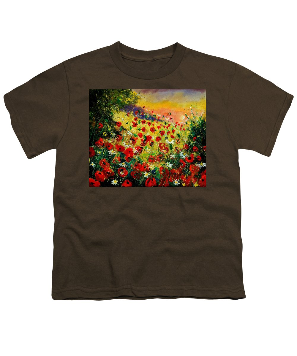 Tree Youth T-Shirt featuring the painting Red Poppies by Pol Ledent