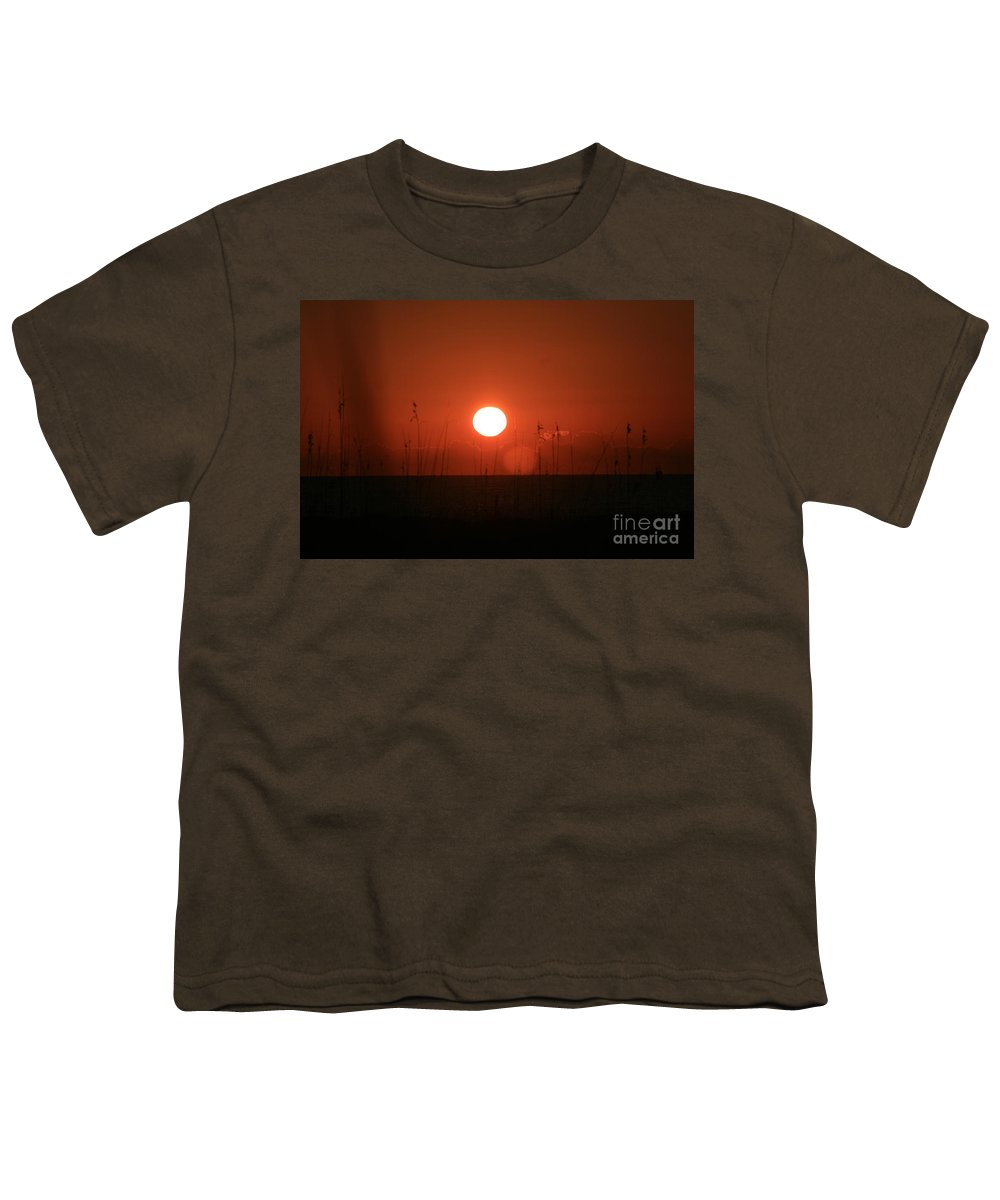 Sunset Youth T-Shirt featuring the photograph Red Sunset And Grasses by Nadine Rippelmeyer
