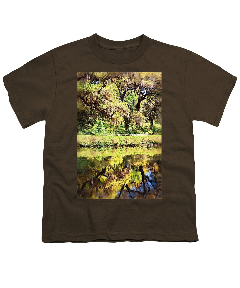 Landscape Youth T-Shirt featuring the photograph Reflective Live Oaks by Donna Bentley