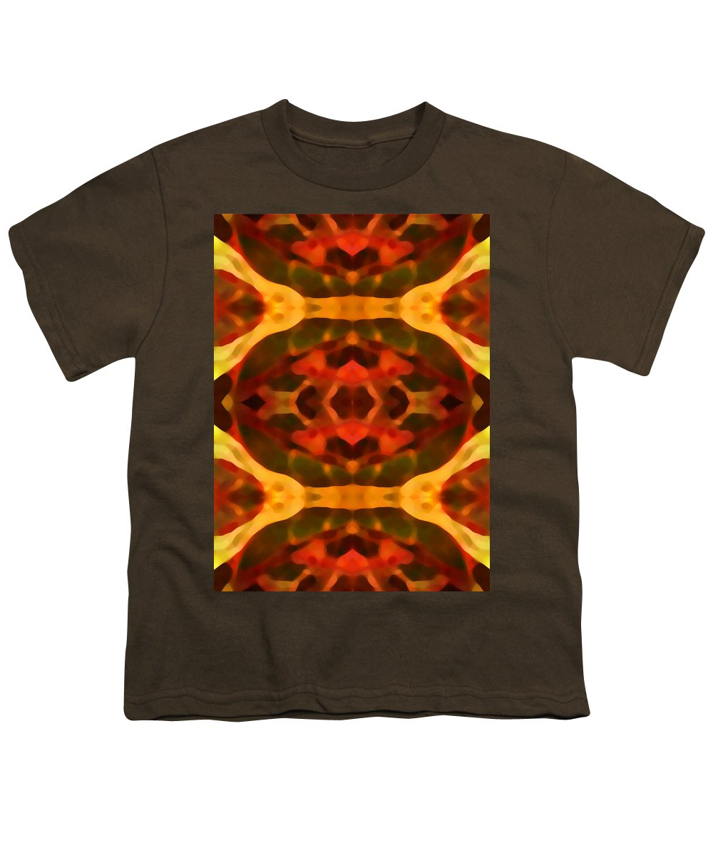 Abstract Painting Youth T-Shirt featuring the digital art Ruby Crystal Pattern by Amy Vangsgard