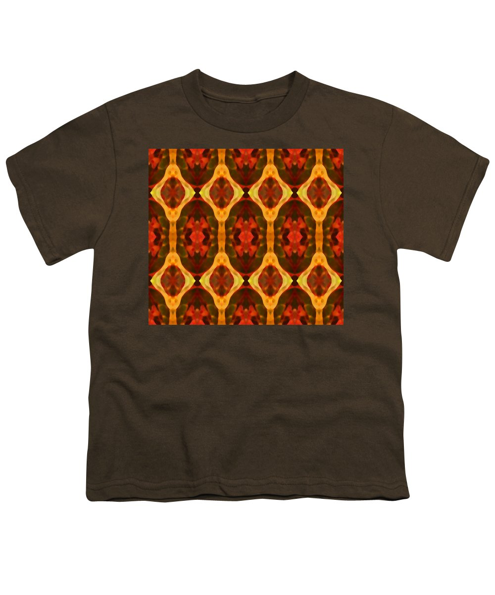 Abstract Youth T-Shirt featuring the painting Ruby Glow Pattern by Amy Vangsgard