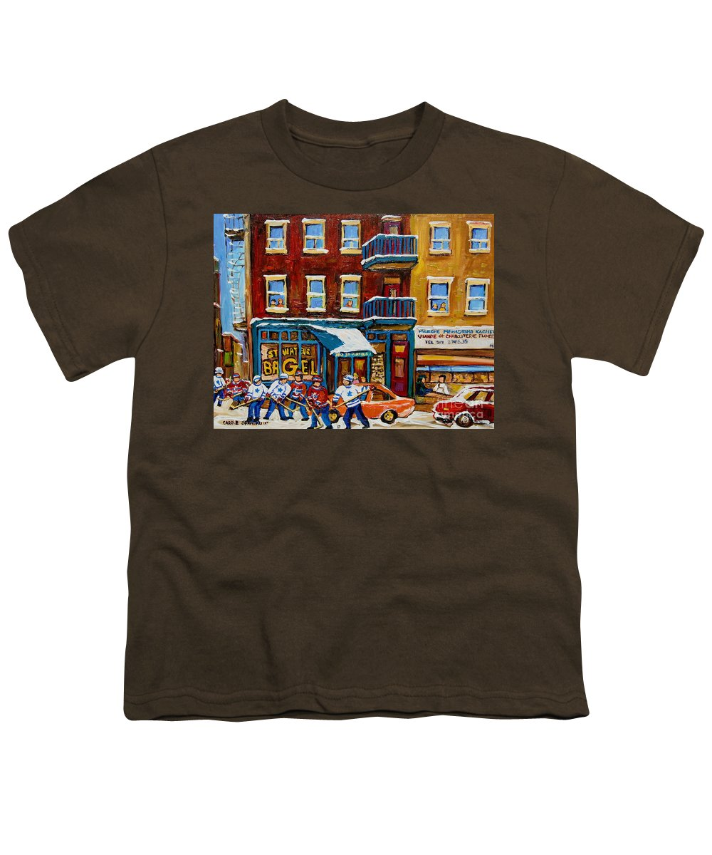 Montreal Youth T-Shirt featuring the painting Saint Viateur Bagel With Hockey by Carole Spandau
