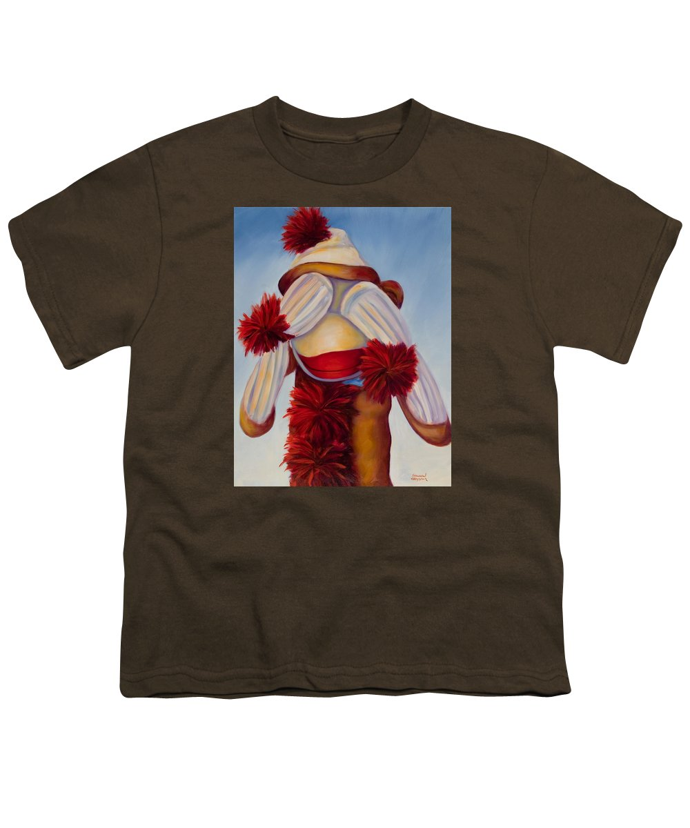 Children Youth T-Shirt featuring the painting See No Bad Stuff by Shannon Grissom