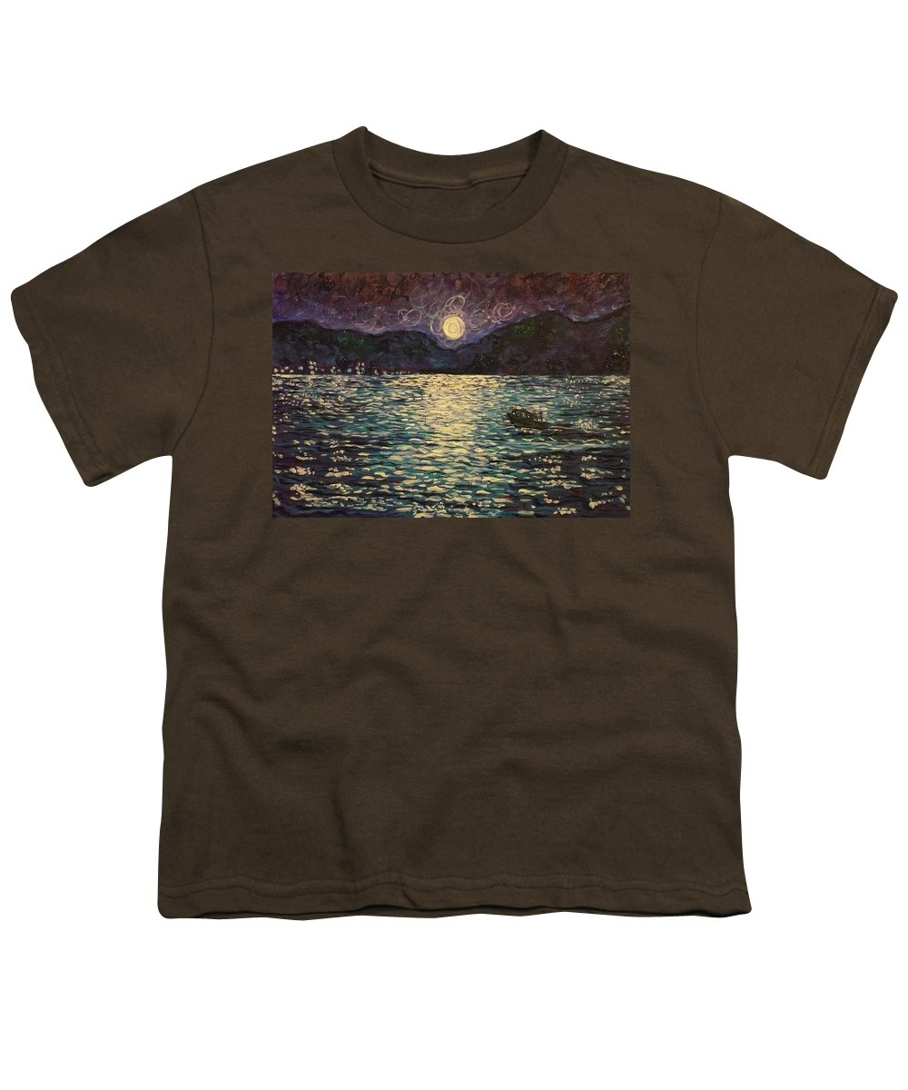 Landscape Youth T-Shirt featuring the painting Silver Sea by Ericka Herazo