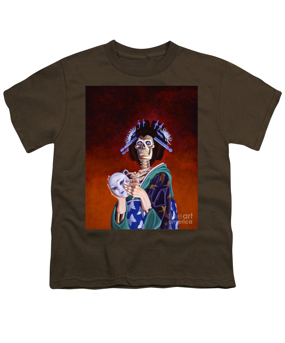 Skeleton Youth T-Shirt featuring the painting Skeletal Geisha With Mask by Melissa A Benson