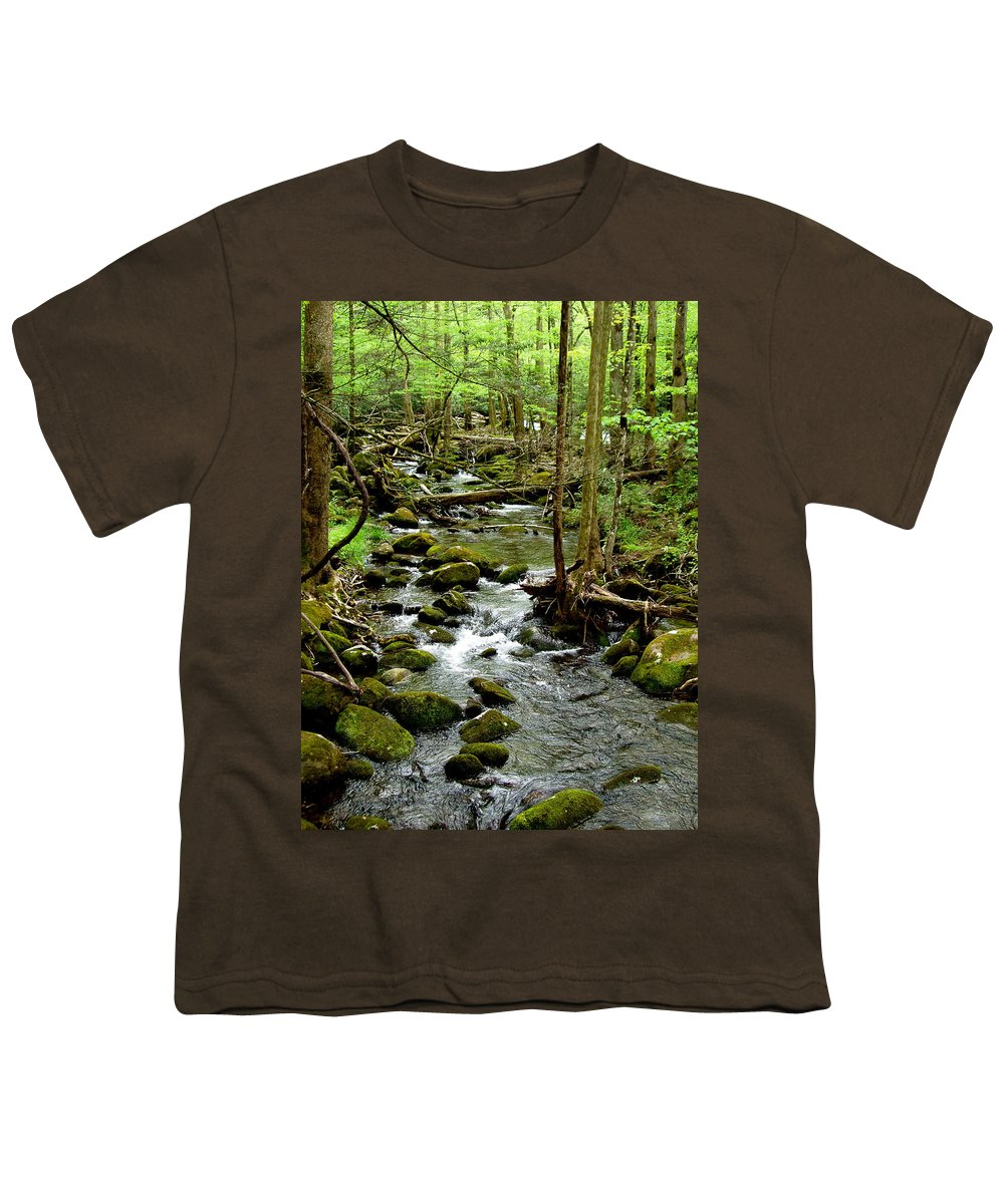 River Youth T-Shirt featuring the photograph Smoky Mountain Stream 2 by Nancy Mueller
