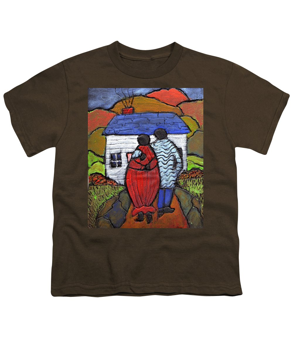 Folk Art Youth T-Shirt featuring the painting Soon To Be Three by Wayne Potrafka