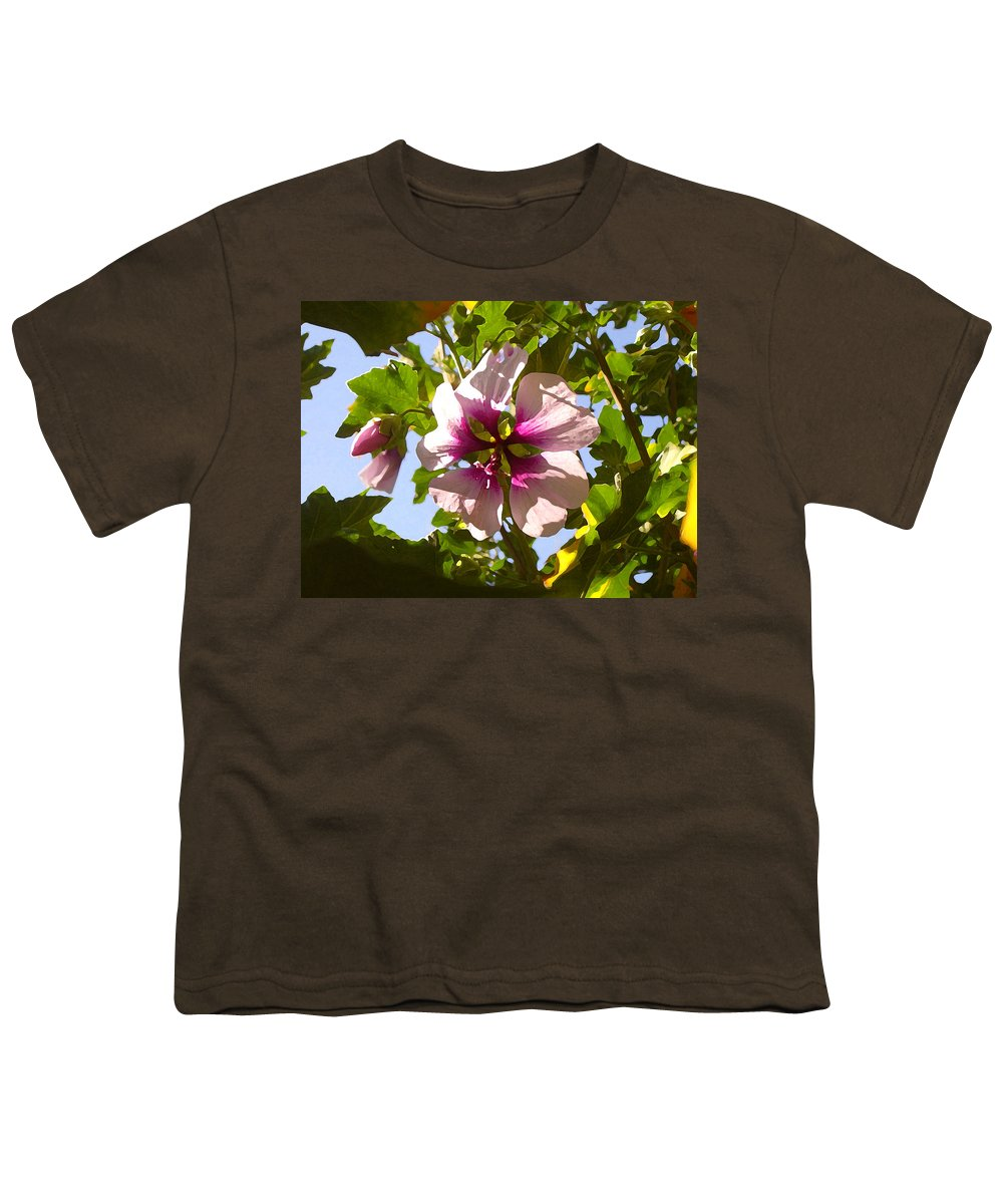 Flower Youth T-Shirt featuring the painting Spring Flower Peeking Out by Amy Vangsgard