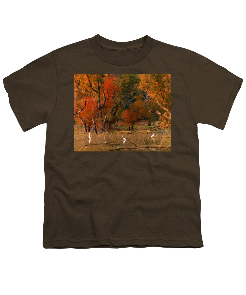 Landscape Youth T-Shirt featuring the photograph Squaw Creek Egrets by Steve Karol