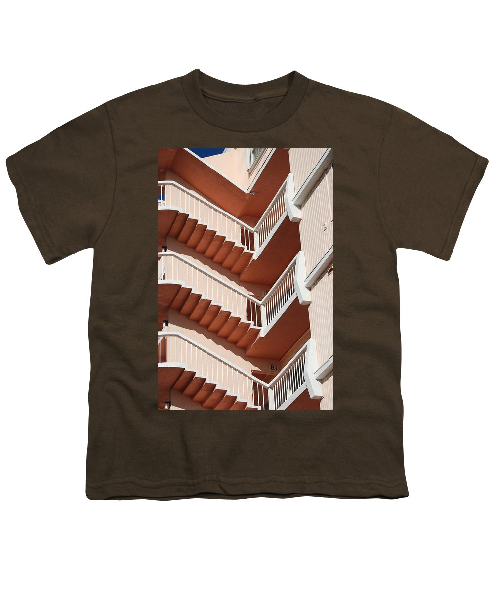 Architecture Youth T-Shirt featuring the photograph Stairs And Rails by Rob Hans